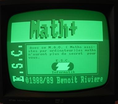 Page de présentation de Math+ sur Amstrad CPC