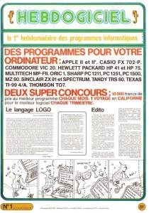 Couverture Hebdogiciel n°1, octobre 1983