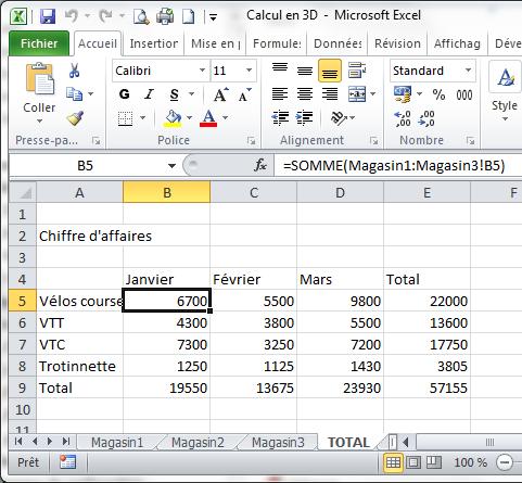 Somme en 3D sous Excel 2010
