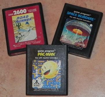 Cartouches de jeu pour console ATARI 2066 : Road Runner, Space Invaders et Pac-Man