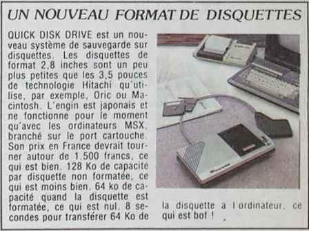 Un nouveau format de disquette, le QDD : entre nul et bof ! (HEBDOGICIEL n° 67, 25 janvier 1985, p. 1)