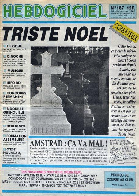 La une de l'Hebdogiciel 167 du 26 décembre 1986 : Triste Noël, le Père Noël n'a pas sauvé une année catastrophique pour les constructeurs