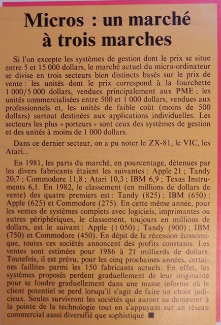 L'informatique en 1983 : un gros gateau, beaucoup de prétendants... mais beaucoup de faillites annoncées... (Micro-Systèmes n° 30, avril 1983, p.67)