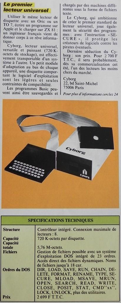 Le premier lecteur de disquettes universel pour Oric 1, TO7, ZX 81... : belle ambition du Cyborg conçu par un ingénieur français, Micro-Systèmes n° 33 (juillet-août 1983), p. 29