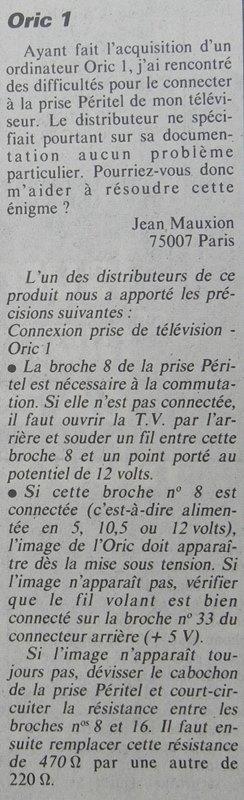 ORIC 1 et prise Péritel : un duo difficile à concilier ?, Micro-Systèmes n° 33 (juillet-août 1983), p. 180