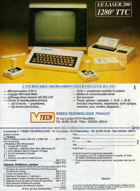 Publicité pour le LASER 200 de VTech (1983)