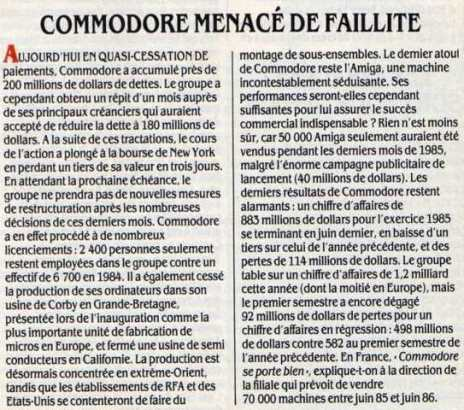 COMMODORE menacé de faillite (Science & Vie Micro n° 26, mars 1986, p. 9)