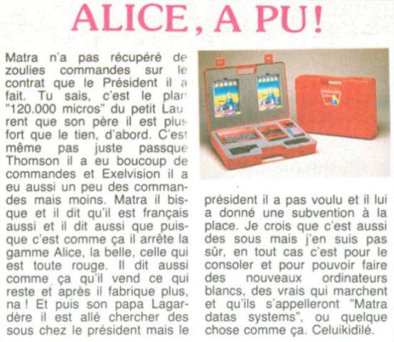 ALICE, c'est fini, HEBDOGICIEL n° 83 (17 mai 1985), page 10