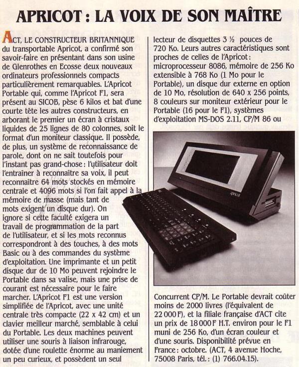 Apricot : la voix de son maître, Science & Vie Micro 9 (septembre 1984), p. 16