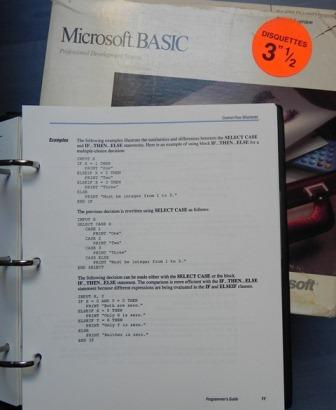 MICROSOFT BASIC pour MS/DOS...
