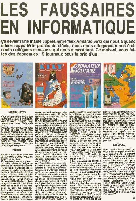 Hebdogiciel dénonce le manque d'indépendance de ses principaux confrères vis-à-vis de leurs annonceurs (Hebdogiciel 146 à 149, août 1986)