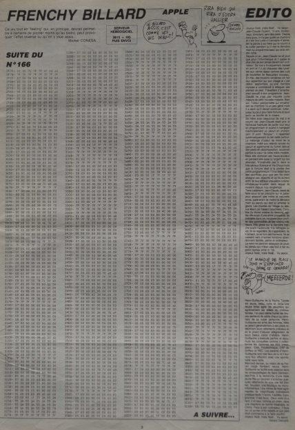 La saisie de listings, un passage fastidieux mais obligé dans les années 80 ! Illustration avec un listing en code machine : extrait d'un programme de billard pour Apple paru dans l'Hebdogiciel n° 167, 26 décembre 1986)