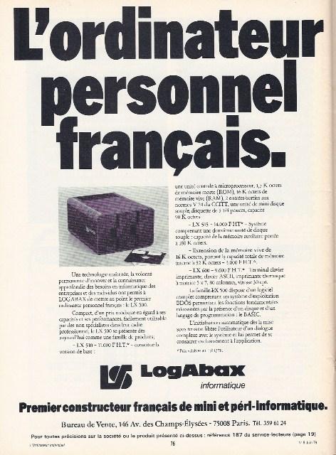 Publicité pour les systèmes français LOGABAX (1979)