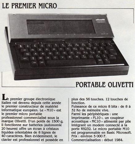 Le premier micro portable Olivetti (Science & Vie Micro n° 1, décembre 1983, p. 8)