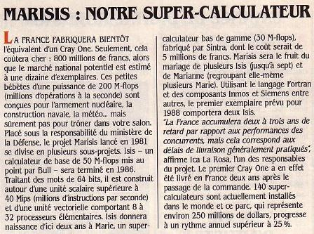 MARISIS : Super-calculateur français concurrent du Cray One (SVM 14, février 1985)