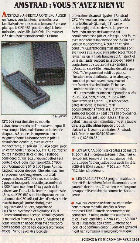 Le lancement du CPC 664 contraint la concurrence à revoir sa stratégie tarifaire (SVM n° 16, avril 1985)