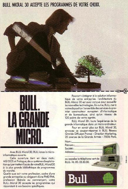 Publicité pour le BULL MICRAL 30 (1985) pour systèmes MS/DOS et Prologue
