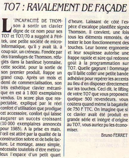 TO7 : ravalement de façade : la société PERITEK propose de remplacer l'inconfortable clavier gomme par un clavier mécanique (Science & Vie Micro n° 17, mai 1985, p. 175)