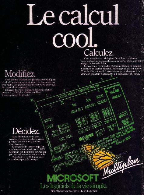 Publicité pour le tableur MULTIPLAN de MICROSOFT (1984)