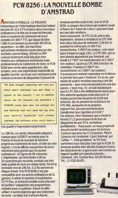 PCW 8256 : la nouvelle bombe d'Amstrad (SVM n° 20, septembre 1985)
