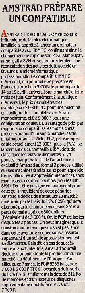 AMSTRAD, le rouleau compresseur, prépare un comptable (SVM 27, avril 1986)