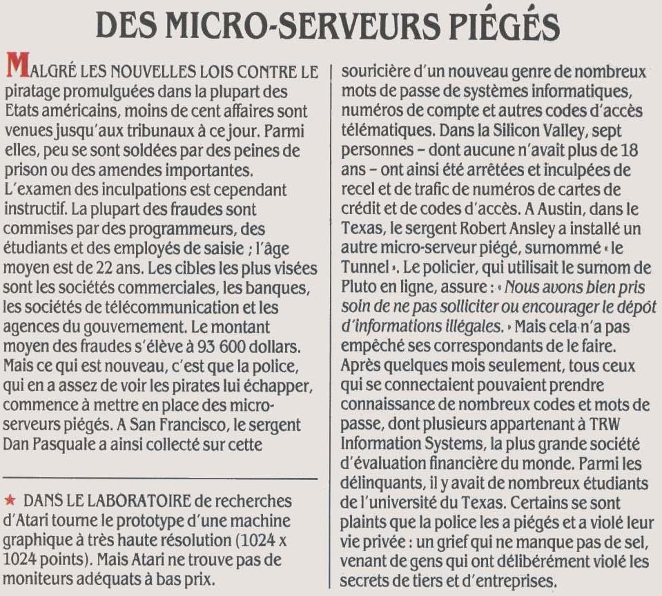 Des micro-serveurs piégés... par la police pour attraper les pirates informatiques (SVM n° 29 (juin 1986), p. 25)