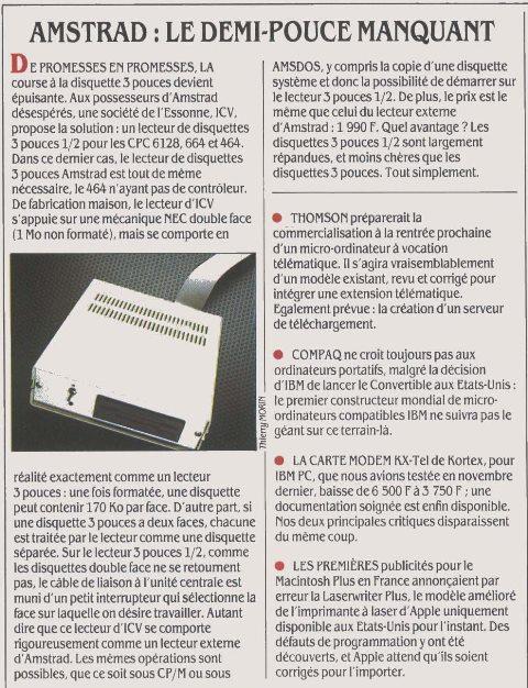 AMSTRAD : le demi-pouce manquant : le choix du format de disquette 3 pouces d'Amstrad se révélera rapidement un inconvénient pour l'utilisateur du fait de sa rareté (Science & Vie Micro n° 29, juin 1986, p. 20)