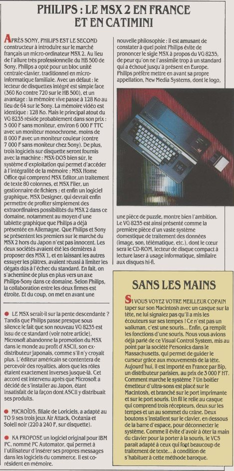 PHILIPS : le MSX 2 en France et en catimini (Science & Vie Micro n° 29, juin 1986, p. 12)