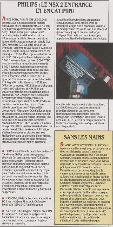 PHILIPS : le MSX 2 en France et en catimini (Science & Vie Micro n° 29, juin 1986, p. 12)