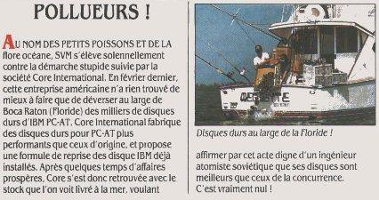 La bêtise à l'état pur : Core International déverse des disques durs de fabricants concurrents à la mer (SVM 29, juin 1986)