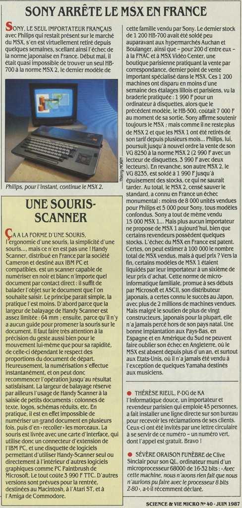 SONY arrête le MSX en France (Science & Vie Micro n° 40, juin 1987, p. 20)