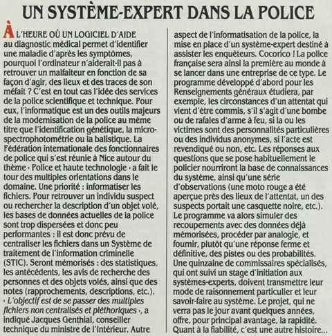 Un système-expert dans la police (SVM n° 58, février 1989, p. 14)