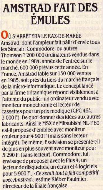 AMSTRAD fait des émules (SVM 19, juillet-août 1985) : 200 000 ordinateurs AMSTRAD vendus en 1984