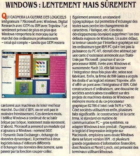 Lentement mais sûrement... Windows prend le dessus (SVM 31, septembre 1986)