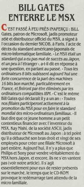 Bill GATES fossoyeur du MSX (SVM n° 33, novembre 1986)