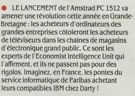 L'AMSTRAD PC 1512 en grande surface : une révolution ! (SVM n° 37, mars 1987)