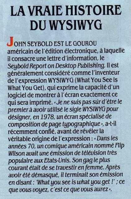 La vraie histoire du WYSIWYG (Science & Vie Micro n° 41, juillet-août 1987, p. 18)