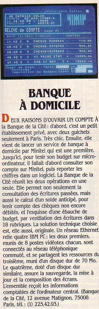 Banque à domicile, SVM n° 15 (mars 1985), p. 15 : la Banque de la Cité propose un service de banque en ligne par minitel avec un suivi budgétaire