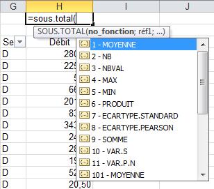 Fonction Sous.Total() d'EXCEL