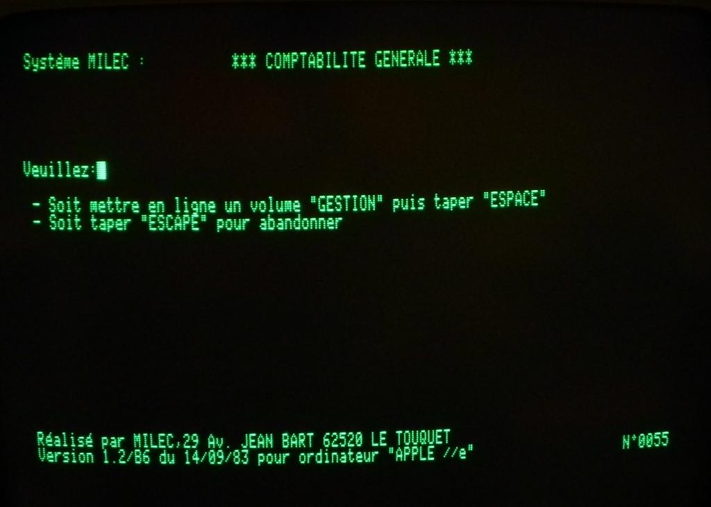 Le logiciel de comptabilité MILEC sur APPLE IIe (1983)