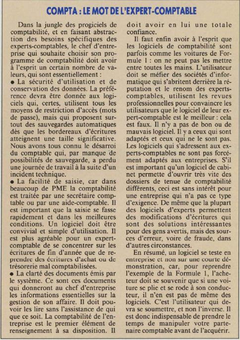 Choix d'un logiciel de comptabilité : le mot de l'expert-comptable (Soft & Micro 72, mars 1991)... Des arguments toujours d'actualité