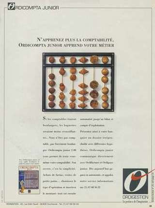 "ORDICOMPTA JUNIOR d'ORDIGESTION (1990) : ""N'apprenez plus la comptabilité. Ordicompta Junior apprend votre métier"""