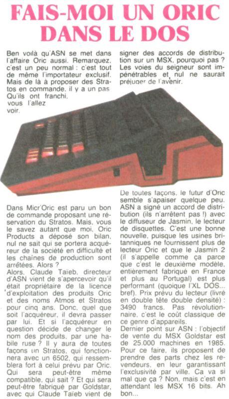 Fais-moi un Oric dans le dos, HEBDOGICIEL n° 83 (17 mai 1985), page 10