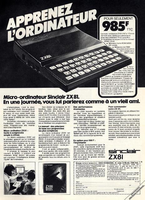 Publicité pour le ZX 81 : 985 francs (1982)