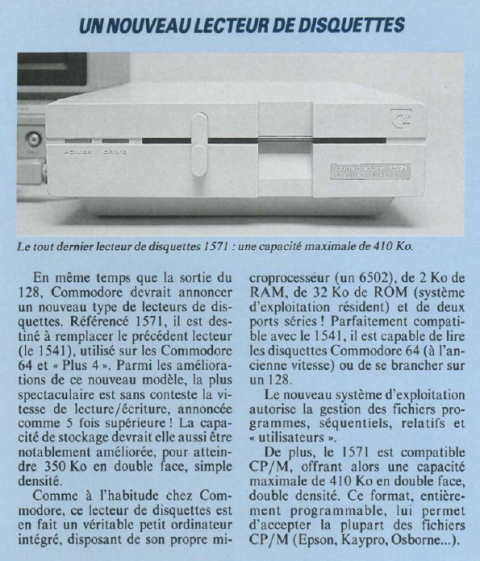 Le nouveau lecteur de disquettes Commodore 1571 (Soft & Micro n° 13, novembre 1985, p. 40)