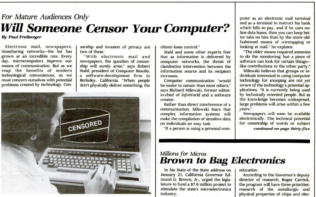 L'informatique favorisera-t-elle la censure ?, InfoWorld du 16 mars 1981 (n° 5, volume 3), 1/2 (cliquer pour agrandir)