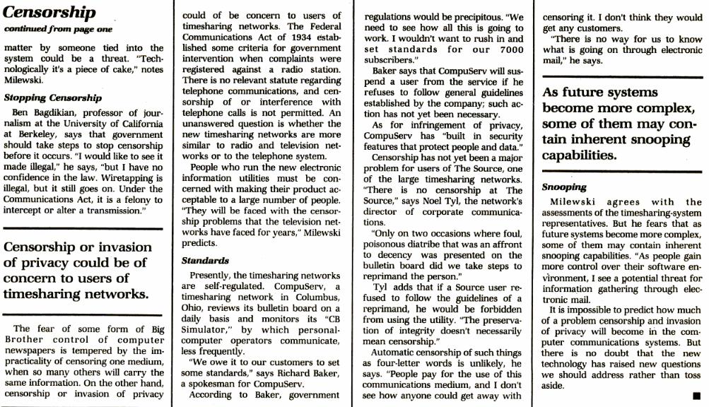L'informatique favorisera-t-elle la censure ?, InfoWorld du 16 mars 1981 (n° 5, volume 3), 2/2 (cliquer pour agrandir)