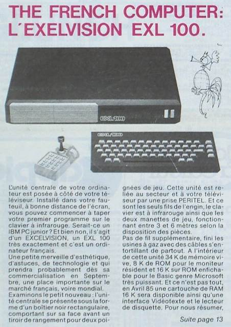 The French Computer : l'Exelvision EXL 100 (Hebdogiciel n° 23, 16 mars 1984, p. 1)