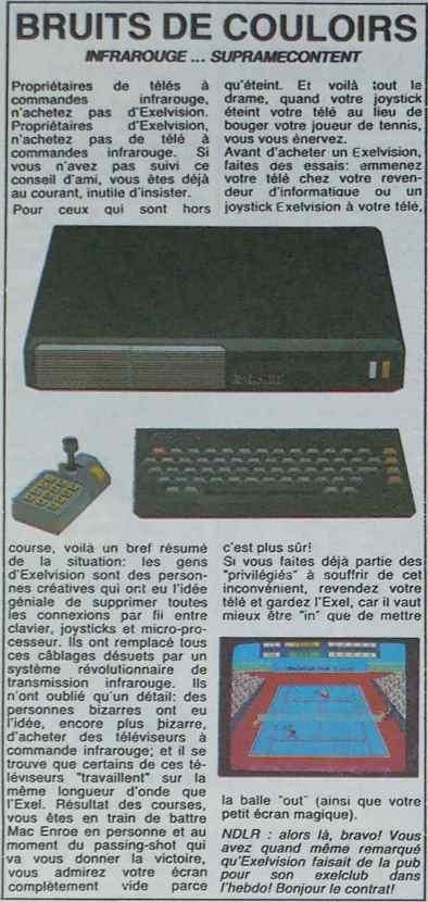 L'EXL 100 victime de son avancée technologique (Hebdogiciel n° 59, 30 novembre 1984, p.10)