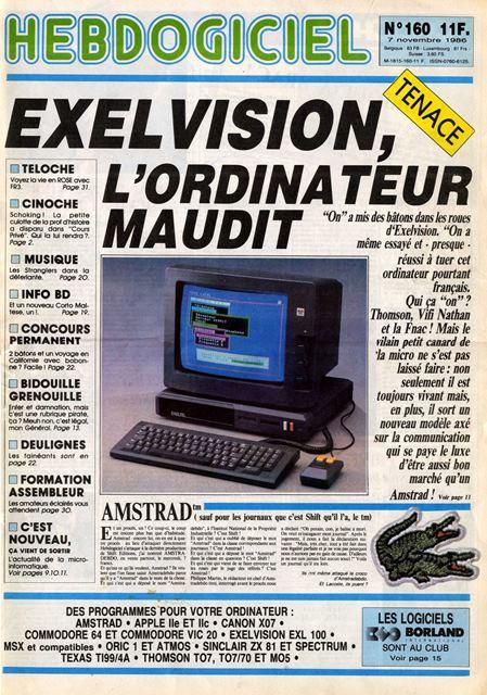 Exelvision, l'ordinateur maudit (Couverture de l'Hebdogiciel n° 160, 7 novembre 1986)